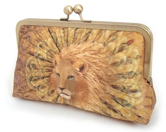 Lion clutch bag, printed silk purse, wedding accessory, bridesmaid gift, orange yellow gold, handmade by Red Ruby Rose