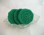 Three Round Scrubbies in Green