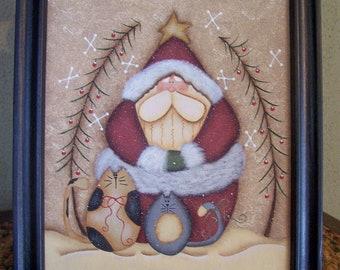 Santa Kitty Canvas Handpainted Framed Holiday Christmas Home Decor