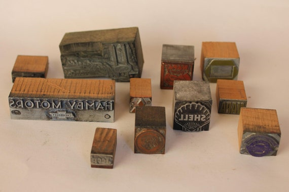 Vintage Type Block - AUTO CAR Collection - Letterpress Printer Set-Chevrolet, Jeep, Shell, Ford