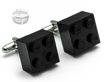 Black Cufflinks - made with LEGO bricks