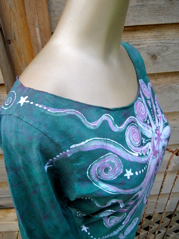 Handmade Batik Boatneck Top in Teal and Purple  - size Large only