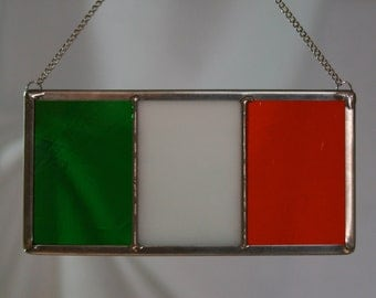 """Irish Flag in STAINED GLASS, Ireland Eire, 5"""" x 2.5"""", St. Patrick's Day"""