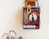 RESERVED - Mixed Media Assemblage - Red and Yellow Vintage Fun Recycled Outsider Art - Perpetual Motion - Gifts for Men