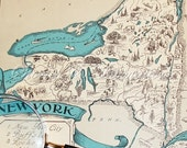 Map - New York Vintage Map - Aqua - Cottage Chic - A Fun and Funky Little 1930s Picture Map of New York to Frame