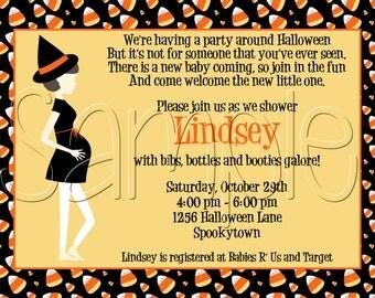 Custom Printable Halloween Candy Corn Baby Shower Invitation