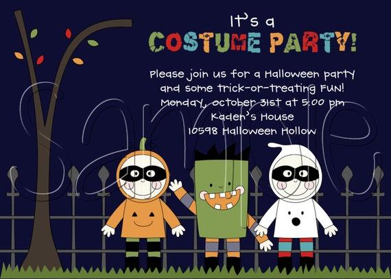 Custom Printable Halloween Costume Party Invitation