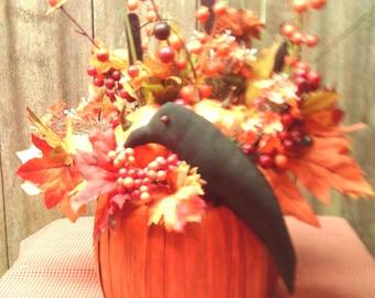 Primitive Autumn Arrangement,Fall Arrangement.Pumpkin Arrangement