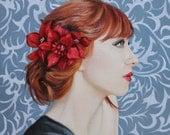"""April original oil portrait female 12x12"""" painting by Kim Dow"""