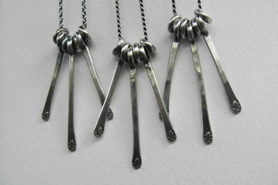 Reserved for SherryCat Sterling Silver Stamped Tab Oxidized Soldered Necklaces