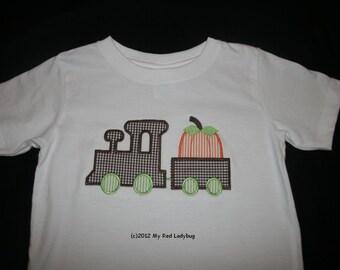 Train with Pumpkin Applique Shirt Monogrammed