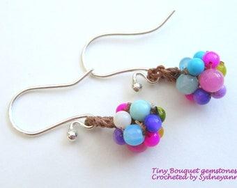 SALE on Tiny Bouquet crocheted gemstone earrings on sterling hooks