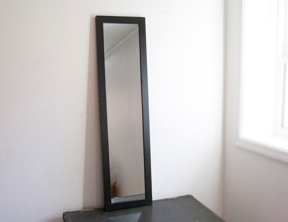 Large wall mirror black wood frame black frame semi full for Big black wall mirror