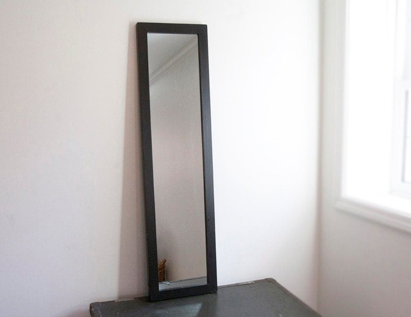 Large wall mirror black wood frame black frame semi full for Long black wall mirror
