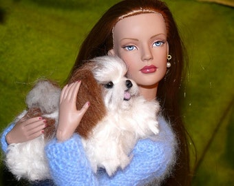 Doll Pet / Custom Pet Portrait / Your dog in miniature / Cute / Poseable / example Shih Tzu small size