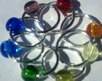 Rainbow & silver snagless lace stitch markers