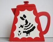 Folk Art Painted Wood Tea Pot