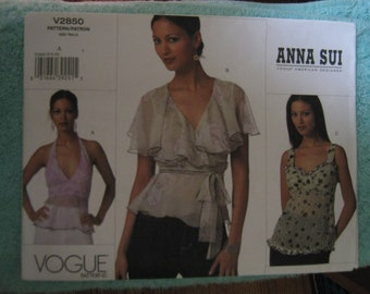 Vogue Misses Anna Sui Top Sz 6-10   V2850    Uncut
