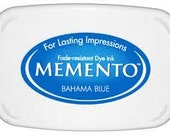 Aqua blue Ink pad for rubber stamps Bahama blue Memento stamp pad --9106