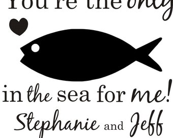 """Only Fish in the Sea rubber stamp great for wedding favor tags 2.5""""  --5665"""