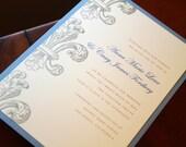 Fleur de Lis Invitations, Wedding Invitations, Custom Invites, New Orleans Wedding, French Style Wedding, Etsy Weddings, Hand Stamped
