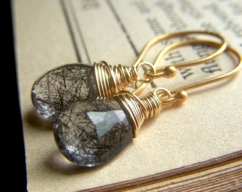 Tourmalinated Quartz Earrings, Goldfilled Wirewrapped Rutilated Briolette Dangle, Rutile Quartz Jewelry