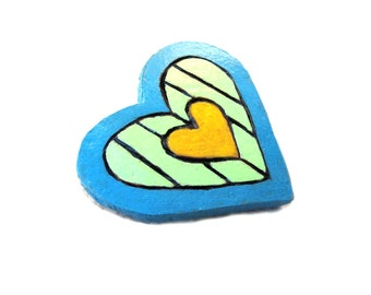 Painted Gourd Pin Colorful Heart Brooch Fun Whimsical  Blue Lime Yellow