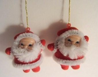 Vintage Christmas Red Flocked SANTA CLAUS Ornaments