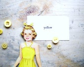 See My Yellow- Vintage Paper Doll and Flash Cards Ephemera Set