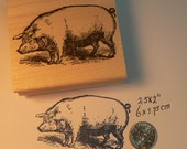 Pig rubber stamp, vintage style wood mounted P10
