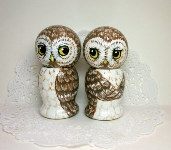 Brown Owl Wedding Cake Toppers
