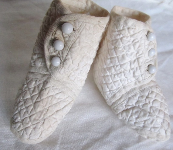 Antique Quilted Baby Booties