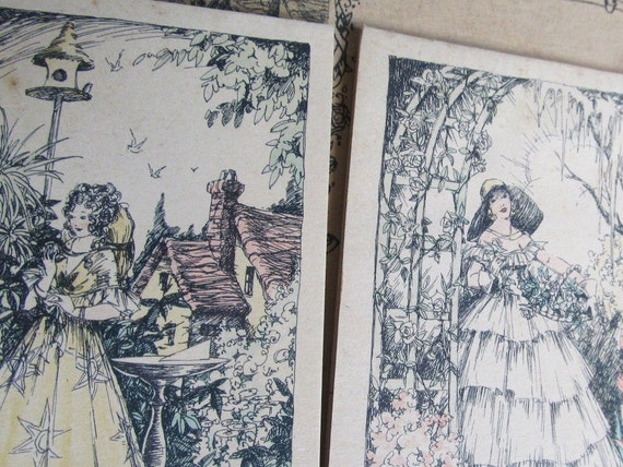 Early 1900s SET OF 15 Crinoline Ladies And Fountain Three Table Bridge Set, Wedding Place Cards
