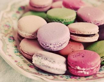 Macaron Photograph, Kitchen Decor, Pink, Still Life Cookies Photo, Pastel Color, Food Photography, Kitchen Art, Shabby Chic, Kitchen Decor