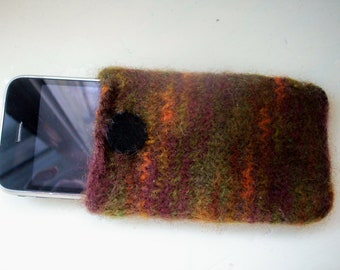 Felted cell phone cozy wool unisex brown by SpinningStreak