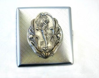 Steampunk Neo Victorian Cards Holder or Cigarette Case -  Silver Nymph Goddess