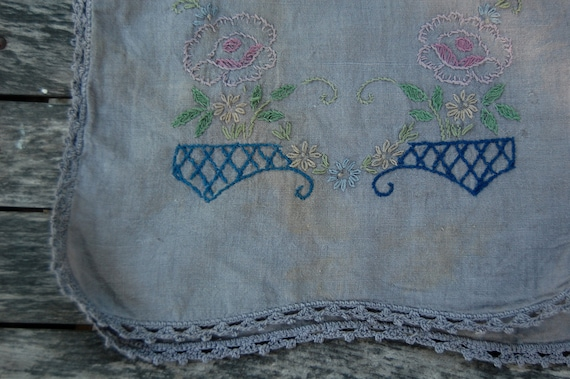 table runner vintage embroidered hand dyed