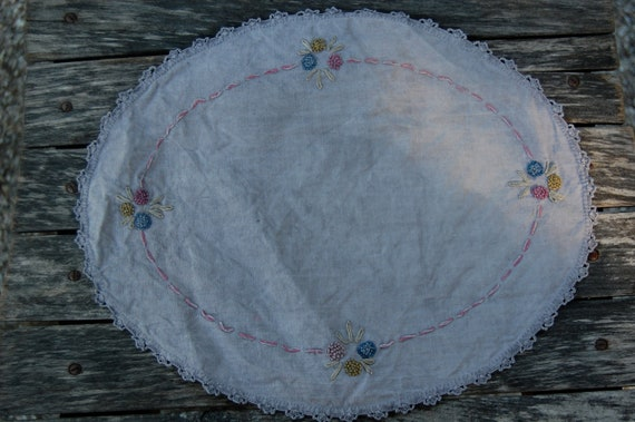 hand dyed embroidered vintage doily