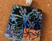 Etched Dichroic Butterfly Pendant Fused Glass Pendant Glass Jewelry Dichroic Jewelry