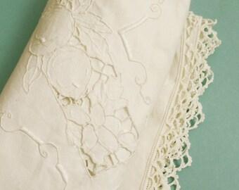 SALE Vintage Portuguese linen Madeira tablecloth