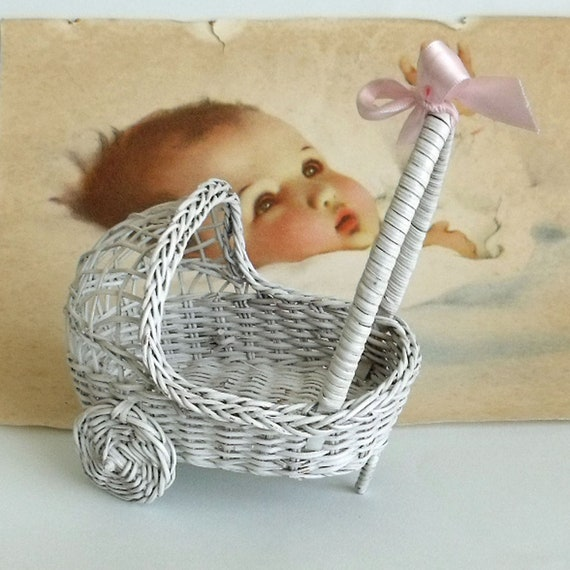 Vintage wicker mini baby carriage toy or home decor