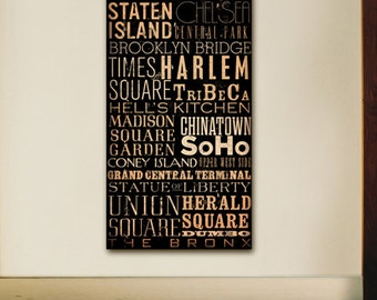 New York City Streets Boroughs Neighborhoods typography artwork on gallery wrapped  by stephen fowler