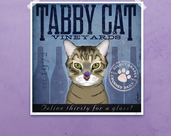 Tabby Cat Wine Company graphic artwork giclee archival signed artist's print by stephen fowler Pick A Size