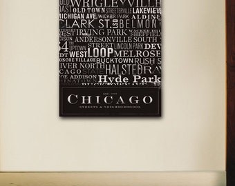 Chicago Streets Typography graphic word art on gallery wrapped canvas by stephen fowler