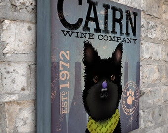 Cairn Terrier Winery company original graphic illustration on gallery wrapped canvas by Stephen Fowler