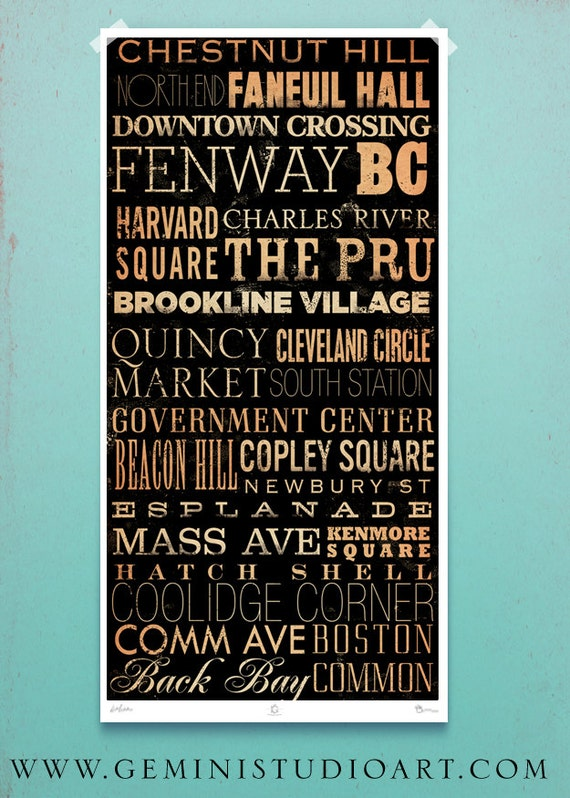 Boston Streets and neighborhoods Typography word art giclee signed print by Stephen Fowler Pick A Size