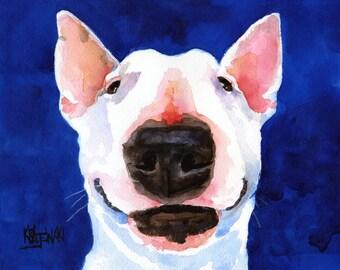 """Bull Terrier Art Print of Original Watercolor Painting 11x14"""" Dog Art"""