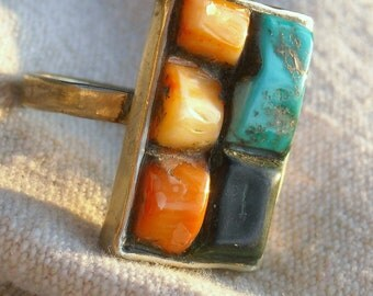 Mosaic Ring Hand Wrought Biker Art Jewelry Turquoise Jade and Orange Coral  OOAK and unique