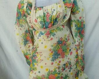 Gauze Sheer Cotton Meadow Wedding Dress Sweet buttercream and Floral Bouquets Empire Maxi Dress sz SM 32 34