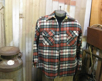Vintage Red Tartan Plaid wool shirt Anchor CPO shirt  60s Sailor Navy Military style shirt M L